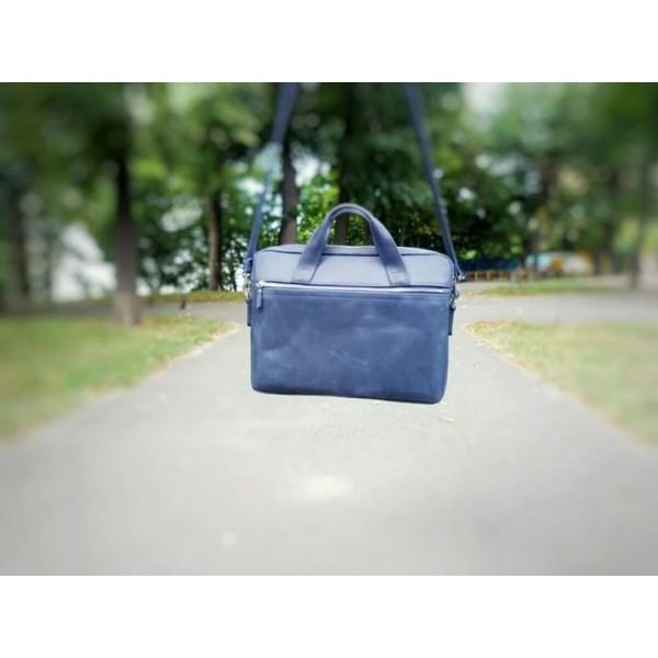 Кожаная сумка для ноутбука 15 синяя