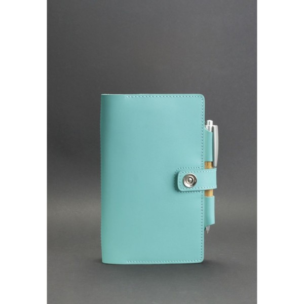 Кожаный блокнот BNK голубой