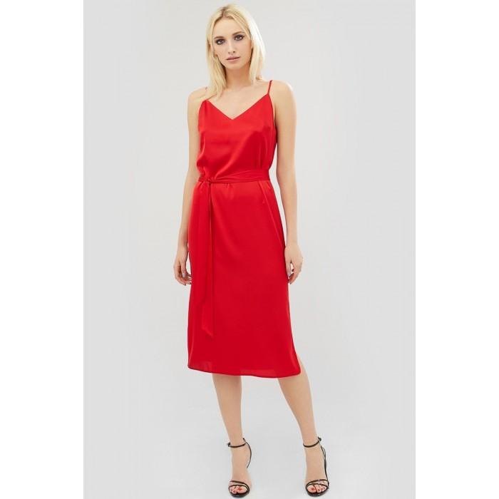 9fa0c1fe213 Sale Красное платье на бретелях