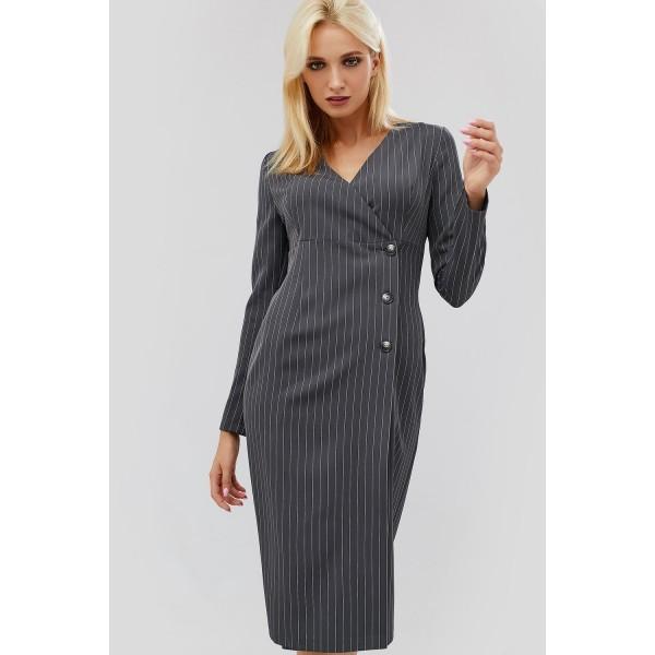 Темно-сіра ділова сукня в смужку 8bdd254e56fde