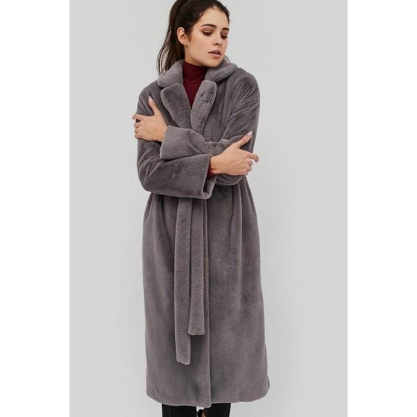 Меховое пальто серое