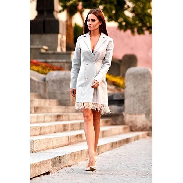 bad99a517e0bac Сукня-піджак з пір'ям