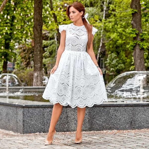 381d67b3a1f Белое платье с бантом для волос