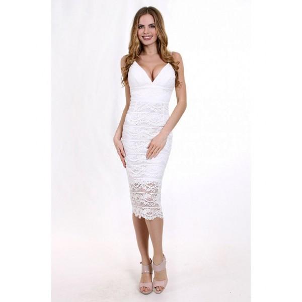 Коктейльное платье с открытой спиной белое