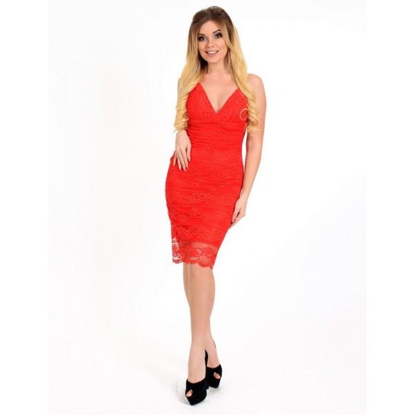 Коктейльное платье с открытой спиной красное