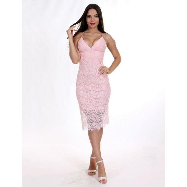 Коктейльное платье с открытой спиной розовое