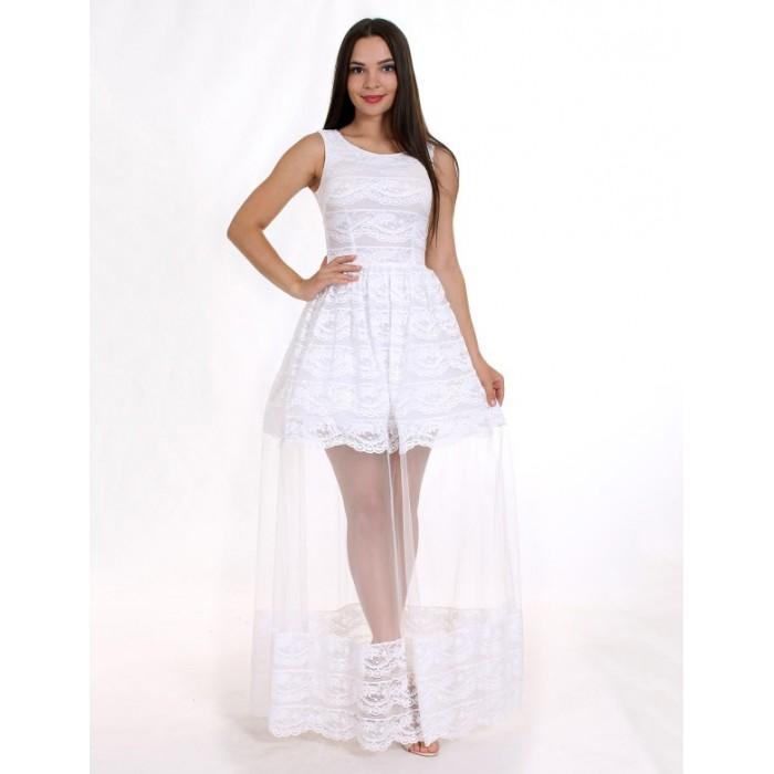 Sale Вечірня сукня з мереживом шантільї біла 350a78d98bd34