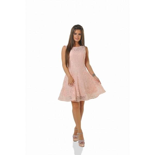 Платье со спинкой из сеточки персиковое