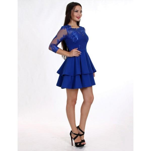 Платье коктейльное с гирюровым верхом