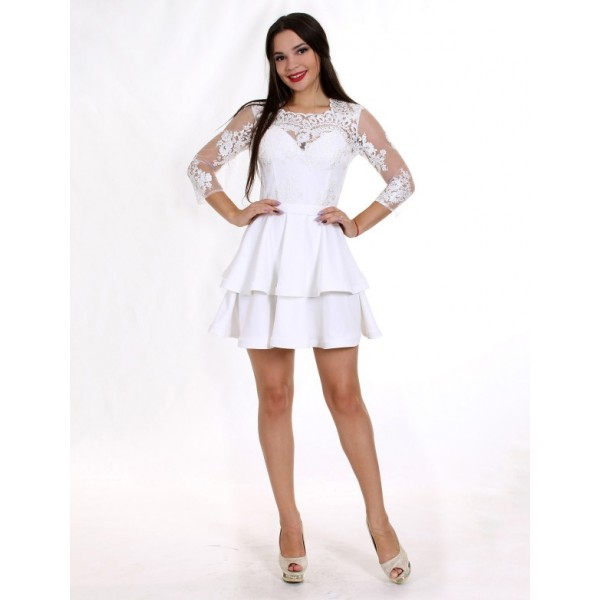 Платье коктейльное с гирюровым верхом Ivory