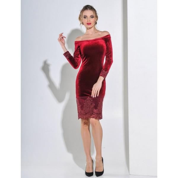 Бархатное коктейльное платье бордо