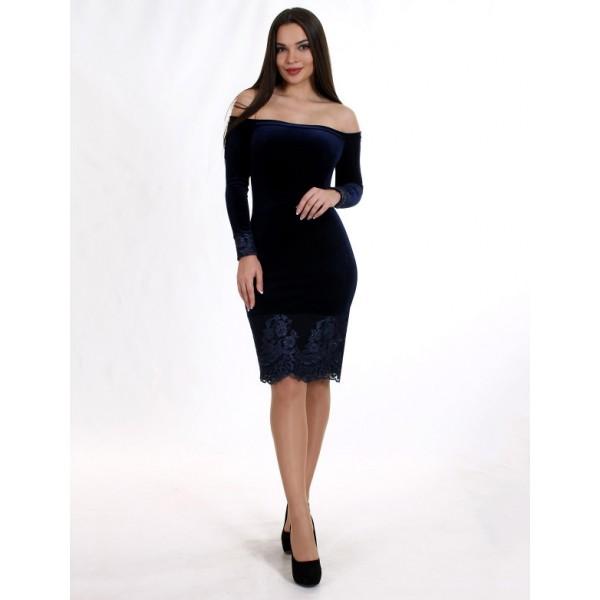 Бархатное коктейльное платье синее