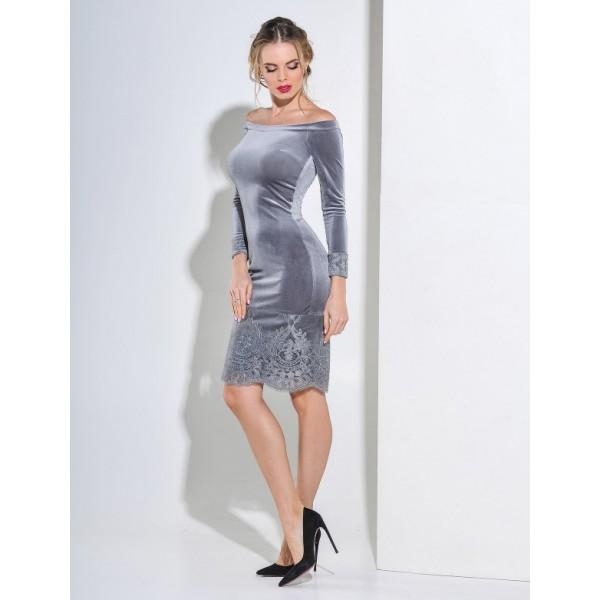 Бархатное коктейльное платье серое