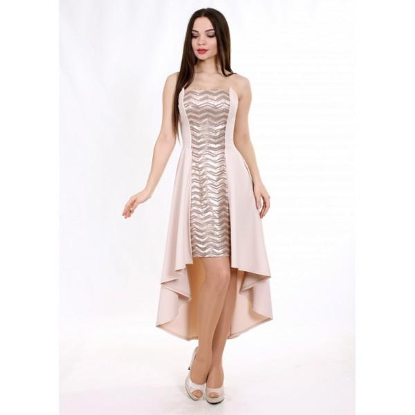 Коктейльное платье на мягком корсете капучино
