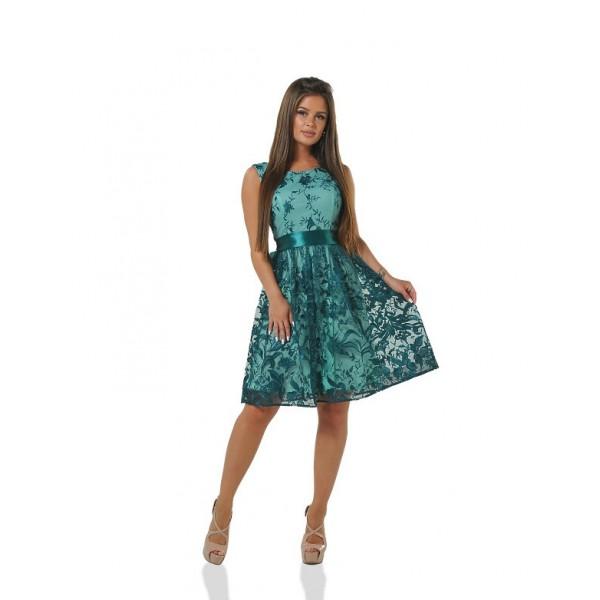 Коктейльное платье с вырезом на спине грин