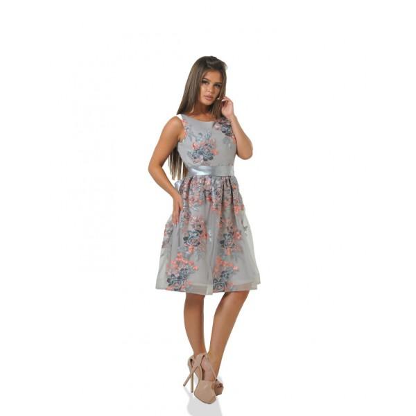Коктейльное платье с вырезом на спине грей