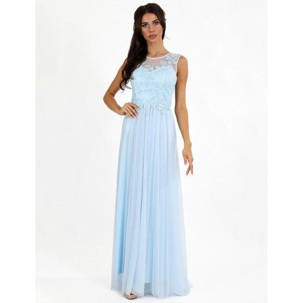 Платье с вышитым бисером лифом голубое