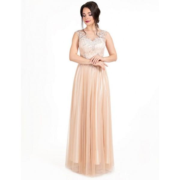 Вечернее платья с вышивкой бисером