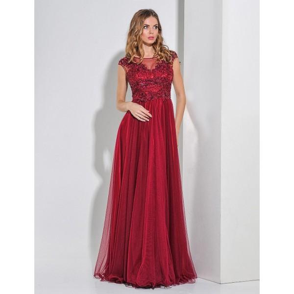 Вечернее платья с вышивкой бисером ред