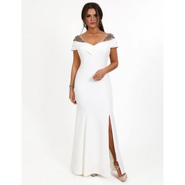 556ebb41b29c6c Вечіря сукня з вишивкою камінням біле