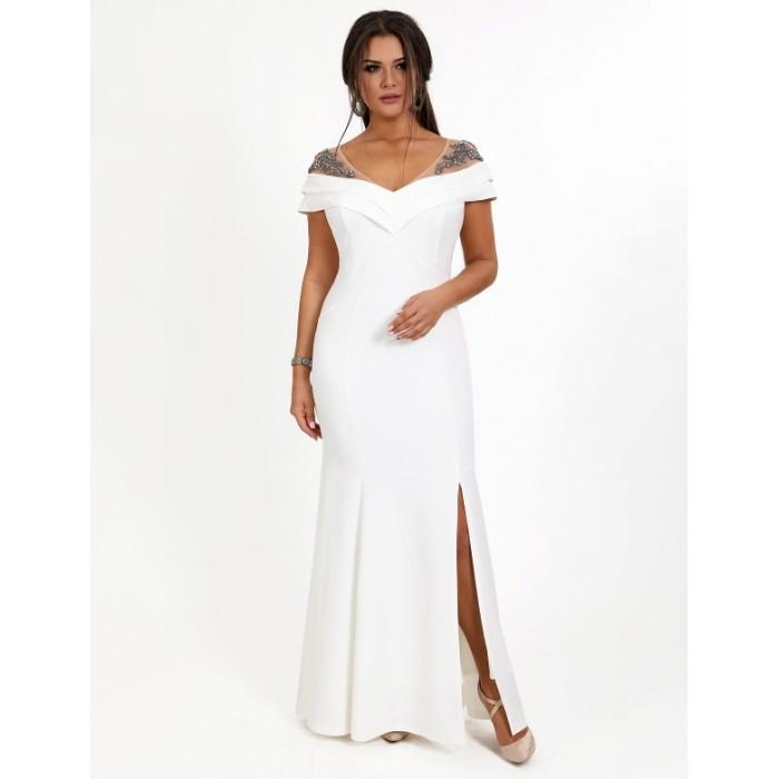 4f693a37942 Вечернее платья с вышивкой камнями белое