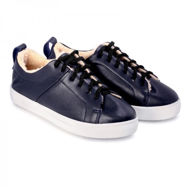 Кожаные кроссовки на меху SN1 синие