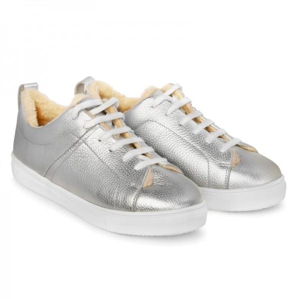 Кожаные кроссовки на меху SN1 серебро