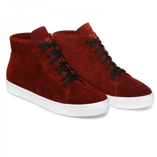 Зимние замшевые кроссовки Н1 бордо