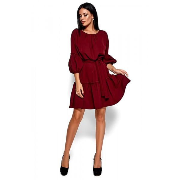 Платье свободного кроя марсала