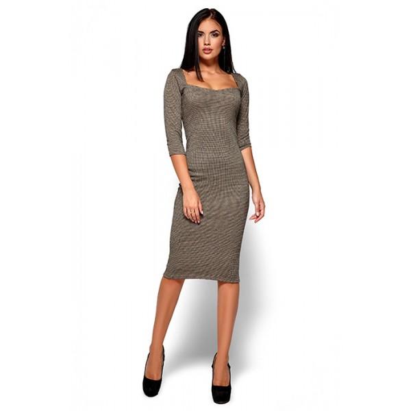 Женское трикотажное платье горчичное
