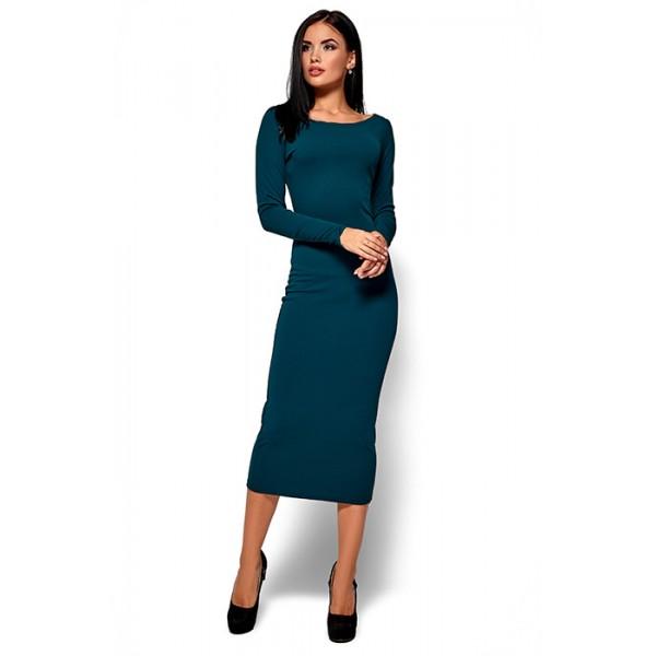 Силуэтное платье зеленое