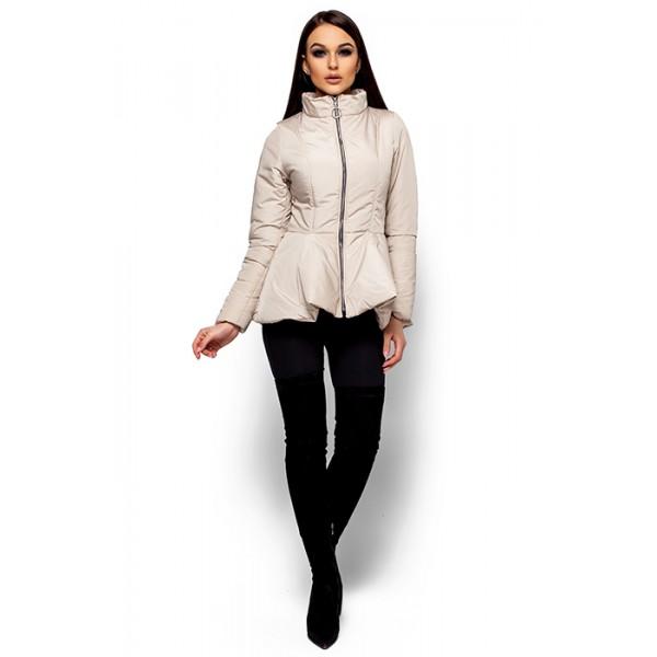 Женская куртка с баской беж