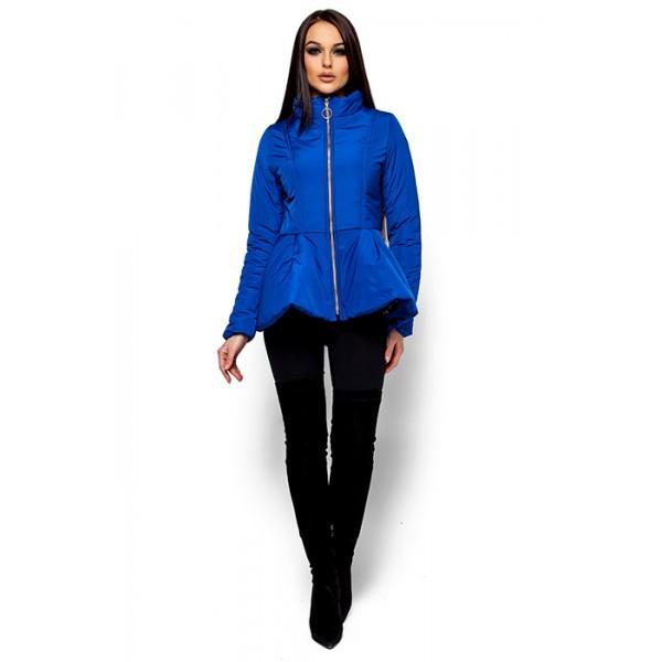 Женская куртка с баской синяя