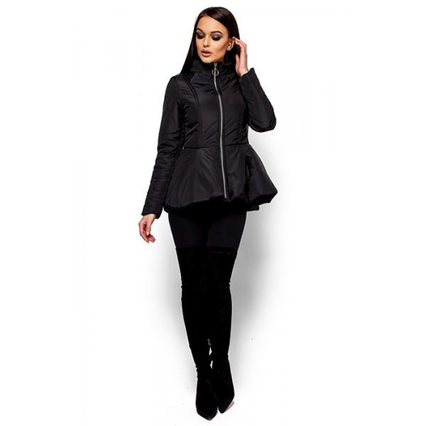 Женская куртка с баской черная