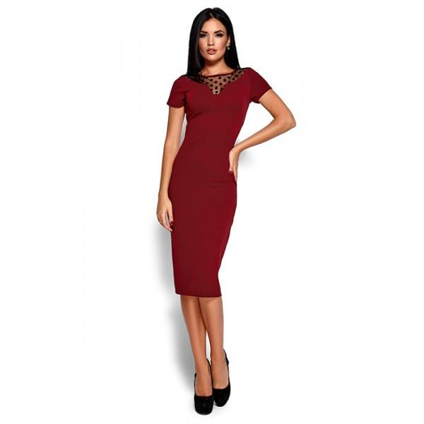 Платье с прозрачной вставкой бордо