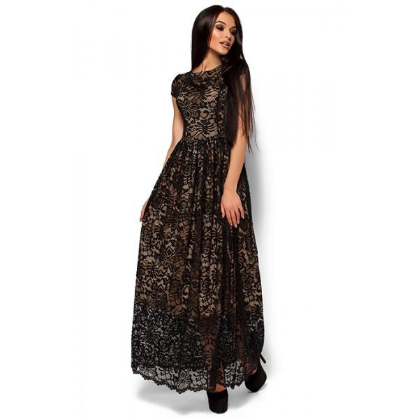 Платье из гипюра в пол блек