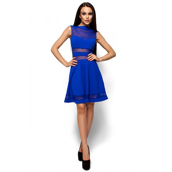 Платье с открытыми плечами электрик