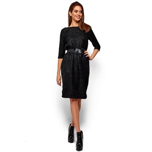 Платье из ангоры с вырезом на спине черное