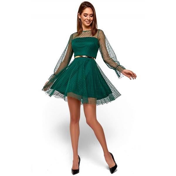 Платье с полупрозрачными деталями