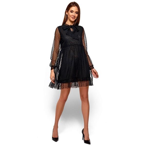 Платье с бантом-галстуком черное