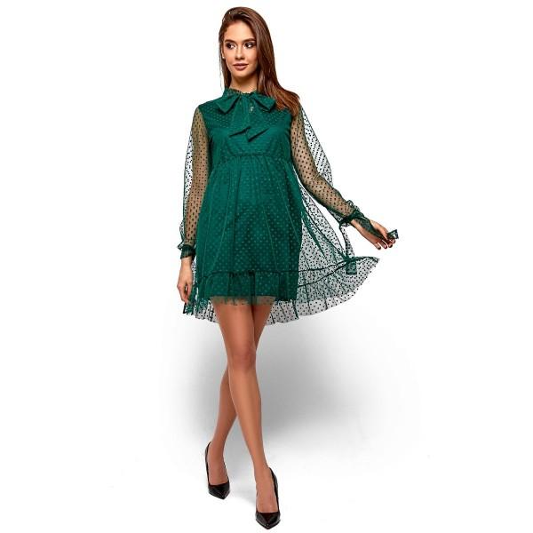 Платье с бантом-галстуком зеленое