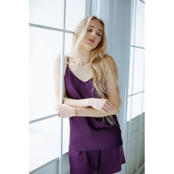 Атласная пижама фиолет