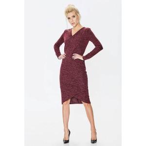 Трикотажное платье из меланжа бордо