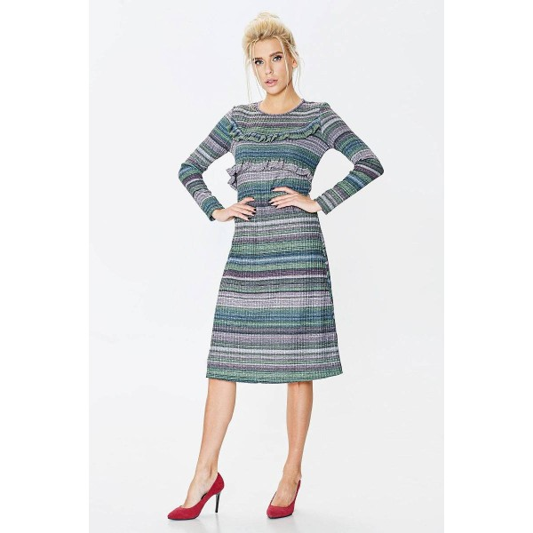 Платье с люрексом и рюшем