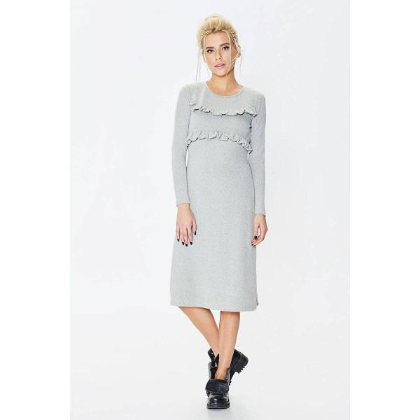def52420afa Серое трикотажное платье