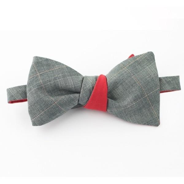 Двустороняя галстук-бабочка серая с красным