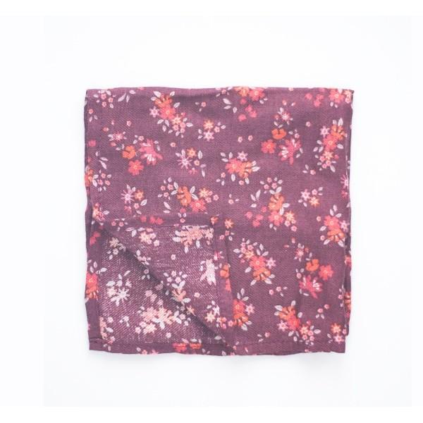 Нагрудный платок Паше бордовый с красными цветами