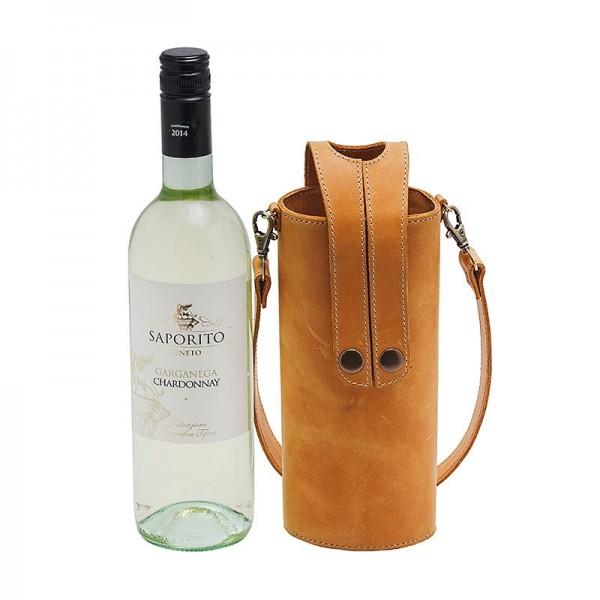 Кожаная сумка-чехол для бутылок рыжая