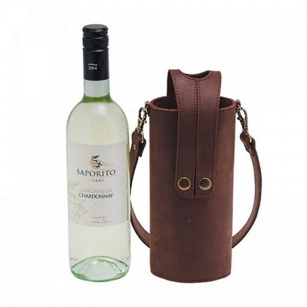 Кожаная сумка-чехол для бутылок браун