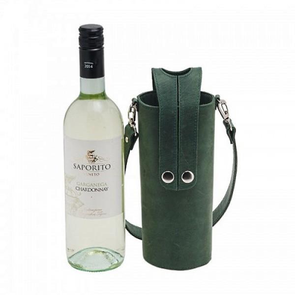 Кожаная сумка-чехол для бутылок грин